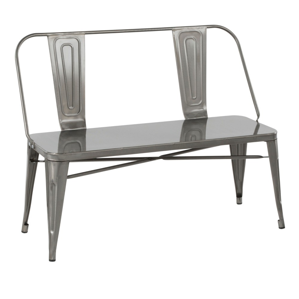 Oregon Industrial Metal Dining Entryway Bench Brushed Silver - LumiSource
