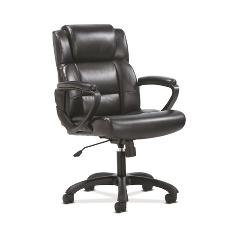 Sadie Ergonomic Swivel Leather Executive Computer Office Chair With Arms And Lumbar Support Black Hon Target