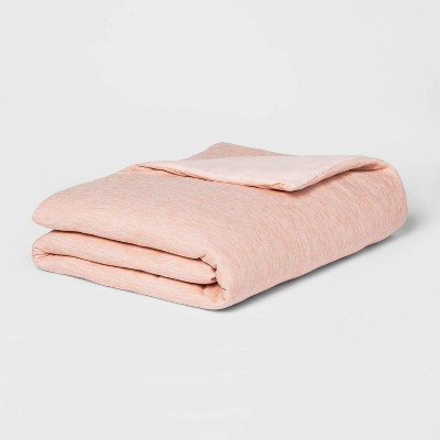 """50"""" x 70"""" 18lbs Jersey Weighted Throw Blanket with Removable Cover Heather Blush - Room Essentials™"""