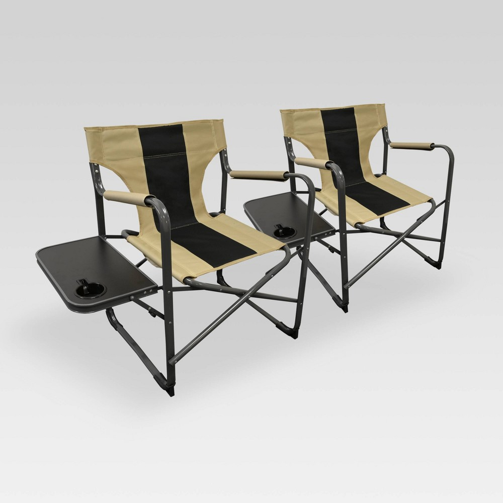 Image of 2pk Outdoor Patio Elite Director's Chair Tan/Black - Caravan