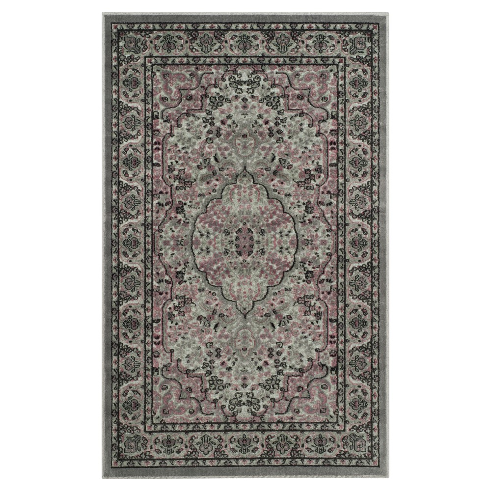 Light Gray/Spruce (Light Gray/Green) Botanical Loomed Accent Rug - (2'7X4') - Safavieh