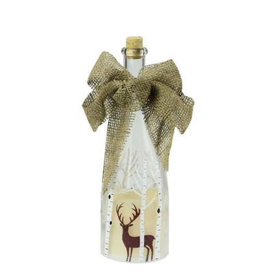"Northlight 10"" LED Flameless Pillar Candle in a Clear Glass Bottle Lantern with Deer Accents"