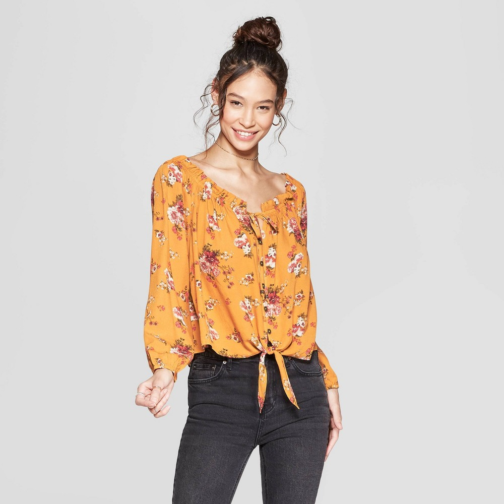 Women's Floral Print Long Sleeve Off the Shoulder Top - Xhilaration Gold S
