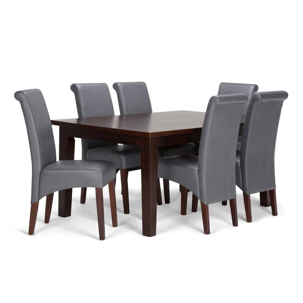 FranklSolid Hardwood 7pc Dining Set Stone Gray - Wyndenhall