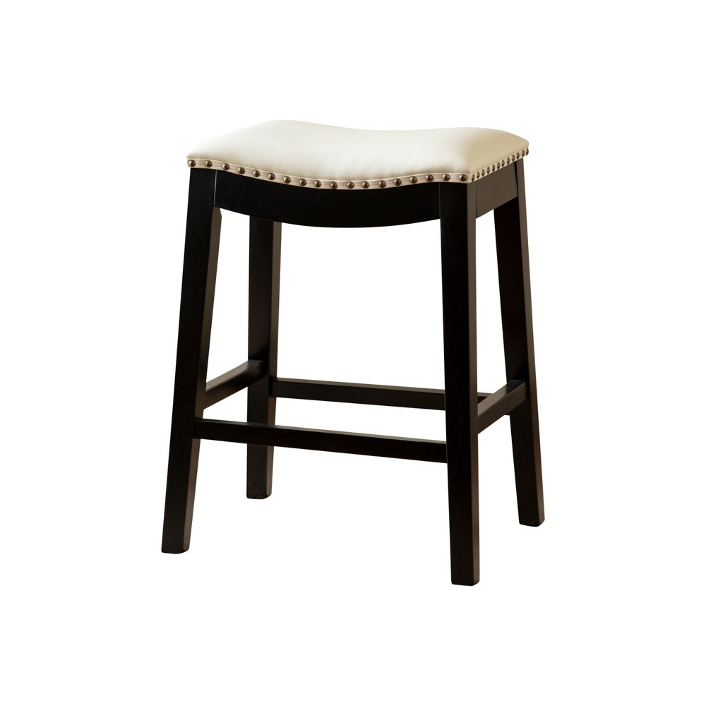 Sensational Dakota Bonded Leather Saddle Counter Stool Ivory Abbyson Living Theyellowbook Wood Chair Design Ideas Theyellowbookinfo
