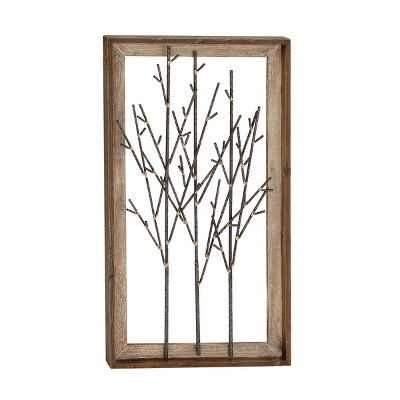 "36"" x 20"" Contemporary Bamboo Branch Iron and Wood Wall Décor - Olivia & May"