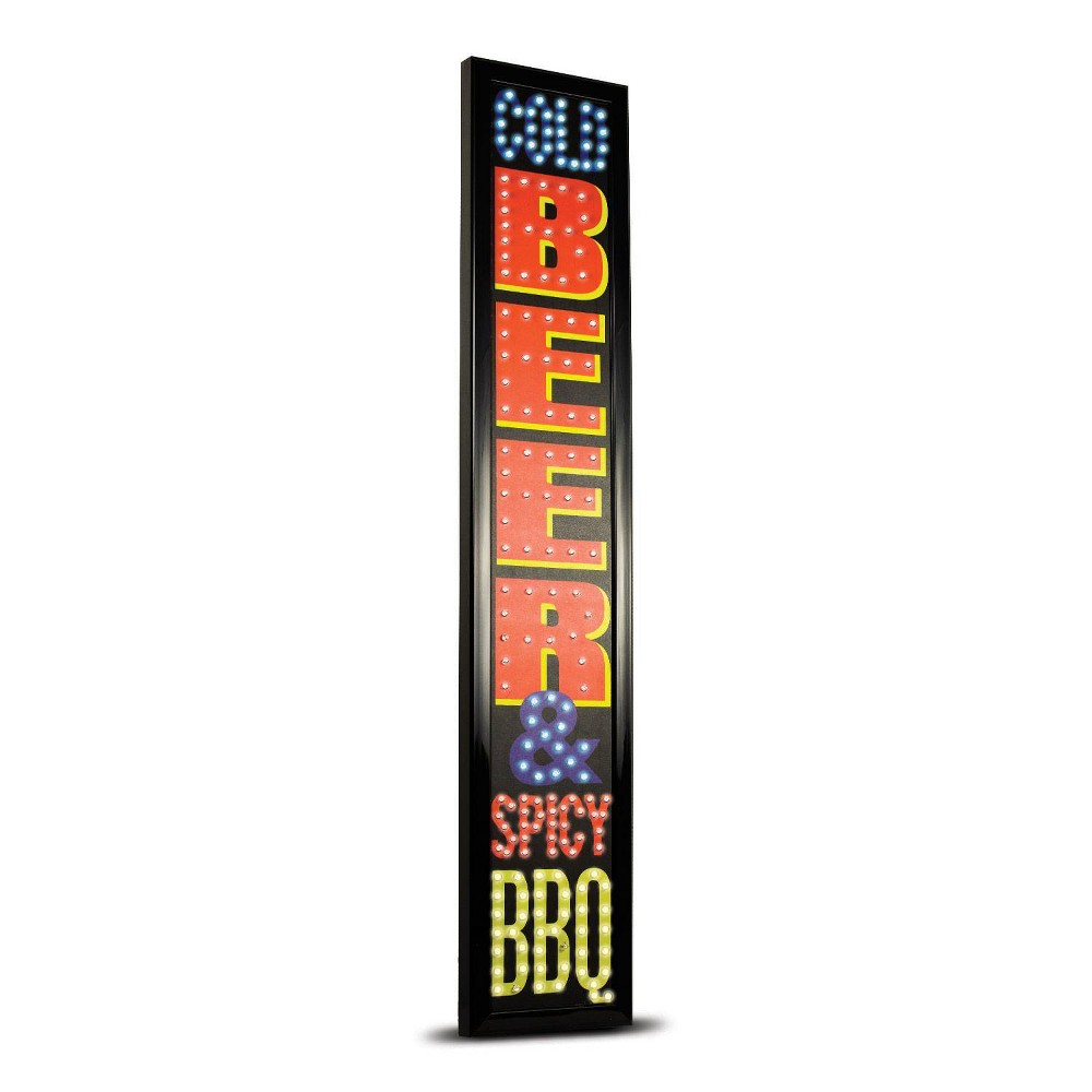 Cold Beer And Spicy Bbq Framed Led Sign Black Red Crystal Art Gallery