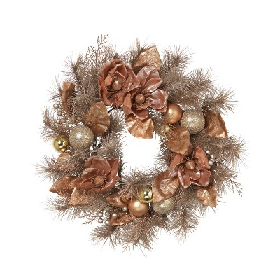 Gerson International 24-Inch Frosted PVC Wreath with Magnolia, Champagne and Rose Gold Ornaments and Berries