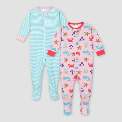 Gerber Baby Girls' 2pk Whale 100% Cotton Footed Unionsuit - Pink/Aqua 6M
