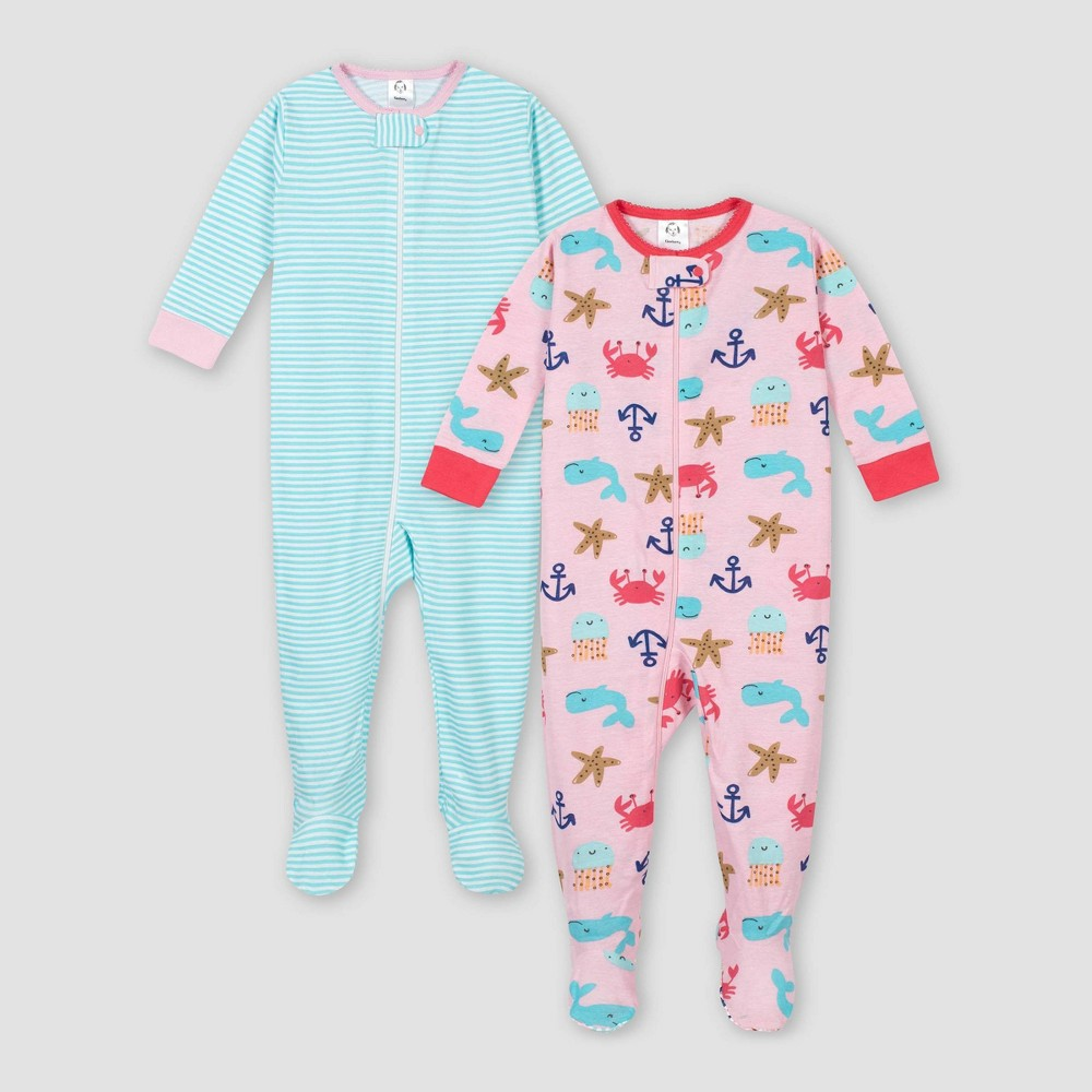 Image of Gerber Baby Girls' 2pk Whale 100% Cotton Footed Unionsuit - Pink/Aqua 3M, Girl's