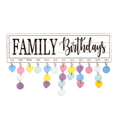 Lakeside Family Birthday Plaque with Distressed White Finish and Tag Hooks