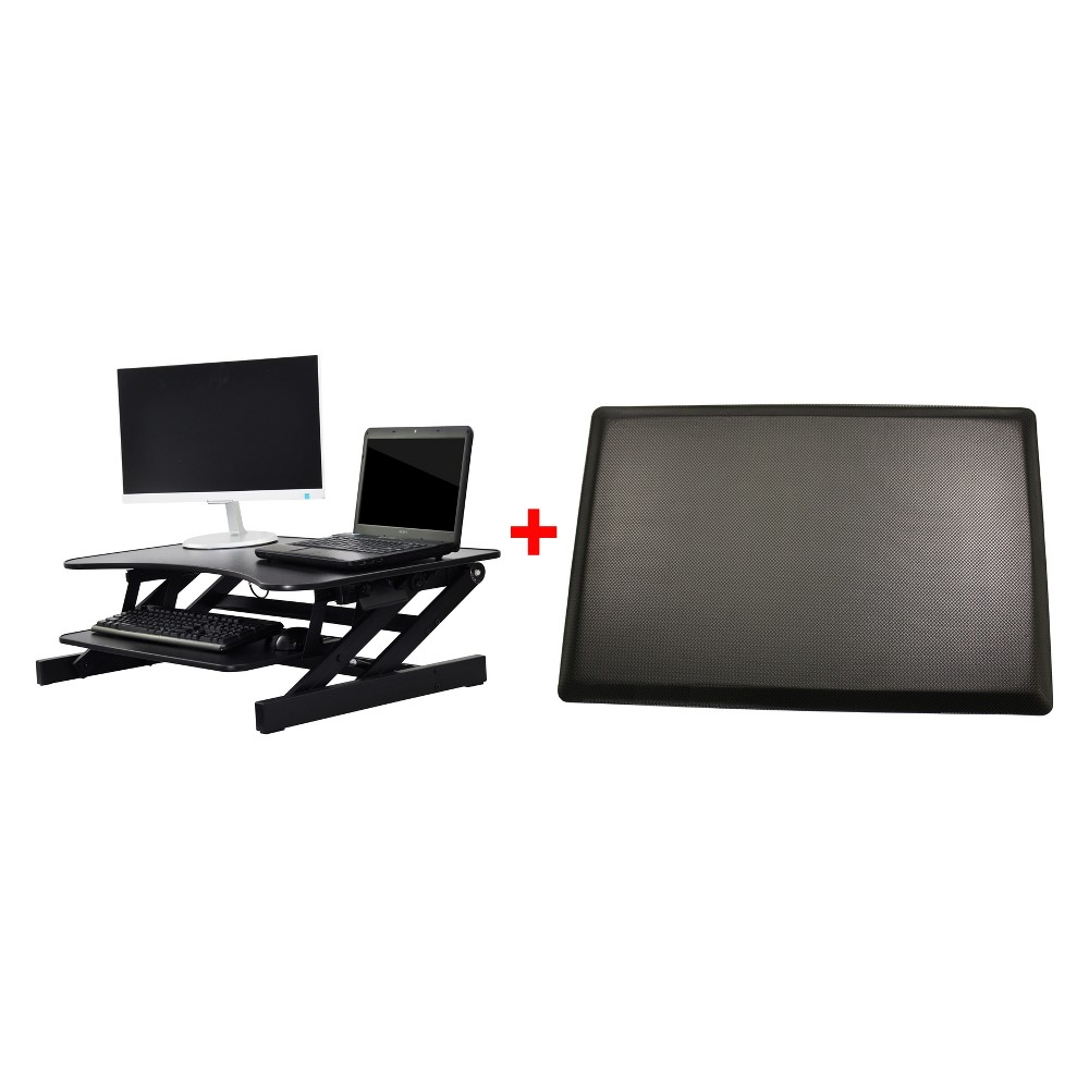 Rocelco Eadr II Height Adjustable Sit To Standing Desk Riser with Mat Black