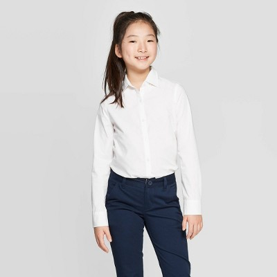 Girls' Uniform Woven Long Sleeve Button-Down Shirt - Cat & Jack™ White