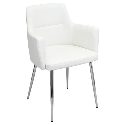 Andrew Contemporary Dining Chair Metaloff White Set Of 2
