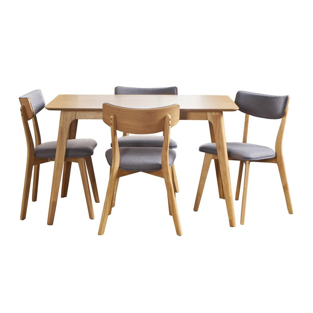 Megann 5pc Mid-Century Dining Set - Dark Gray - Christopher Knight Home