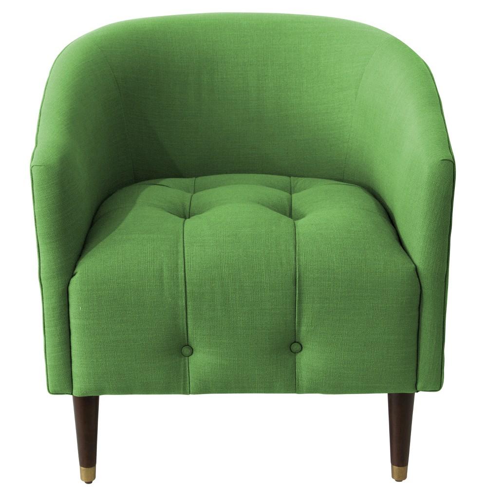 Modern Tufted Tub Chair Green Linen - Skyline Furniture