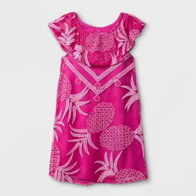 Toddler Girls' Pineapple Print Mesh Dress - Genuine Kids® from OshKosh Pink 12M