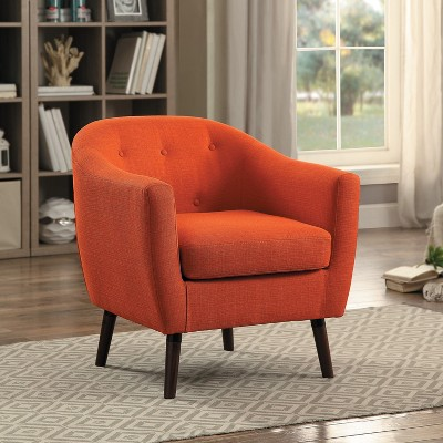Homelegance 31 Inch Lucille Collection Classic Polyester Fabric Single Living Room Barrel Accent Chair, Orange : Target