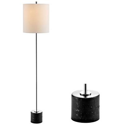 "60.5"" Marble/Metal Levitt Floor Lamp (Includes LED Light Bulb) Silver - JONATHAN Y"