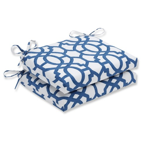 Outdoor/Indoor Nunu Geo Ink Blue Squared Corners Seat Cushion Set of 2 - Pillow Perfect - image 1 of 2