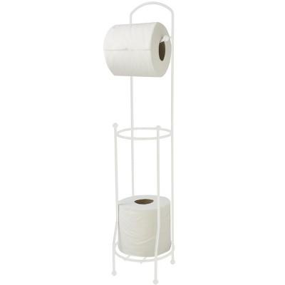 Home Basics Free-Standing Vinyl Coated Steel Dispensing Toilet Paper Holder, White : Target