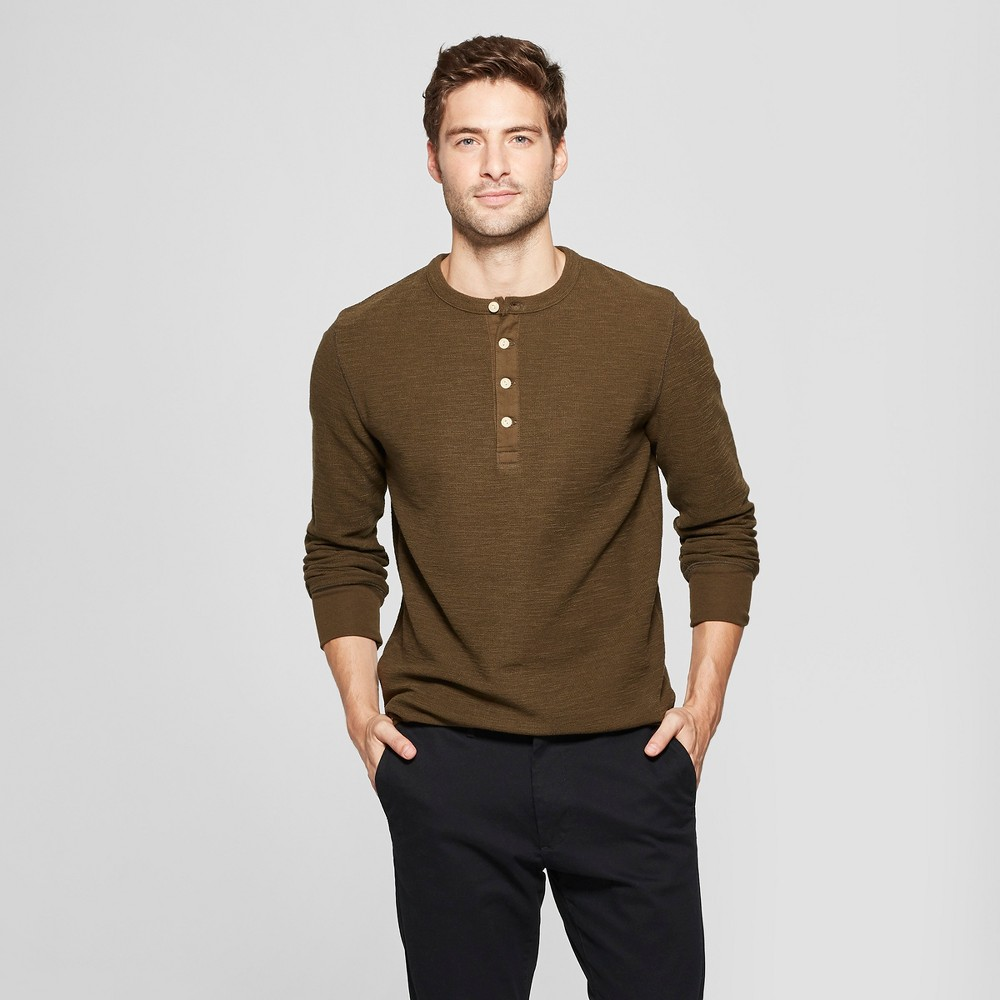 Men's Standard Fit Long Sleeve Textured Henley Shirt - Goodfellow & Co Emerald Forest S