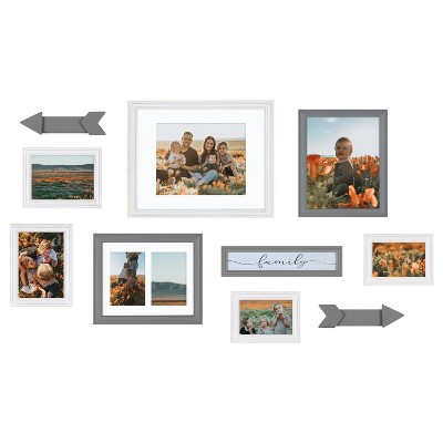 10pc Bordeaux Expressions Frame Box Set Rustic Gray/White - Kate & Laurel All Things Decor