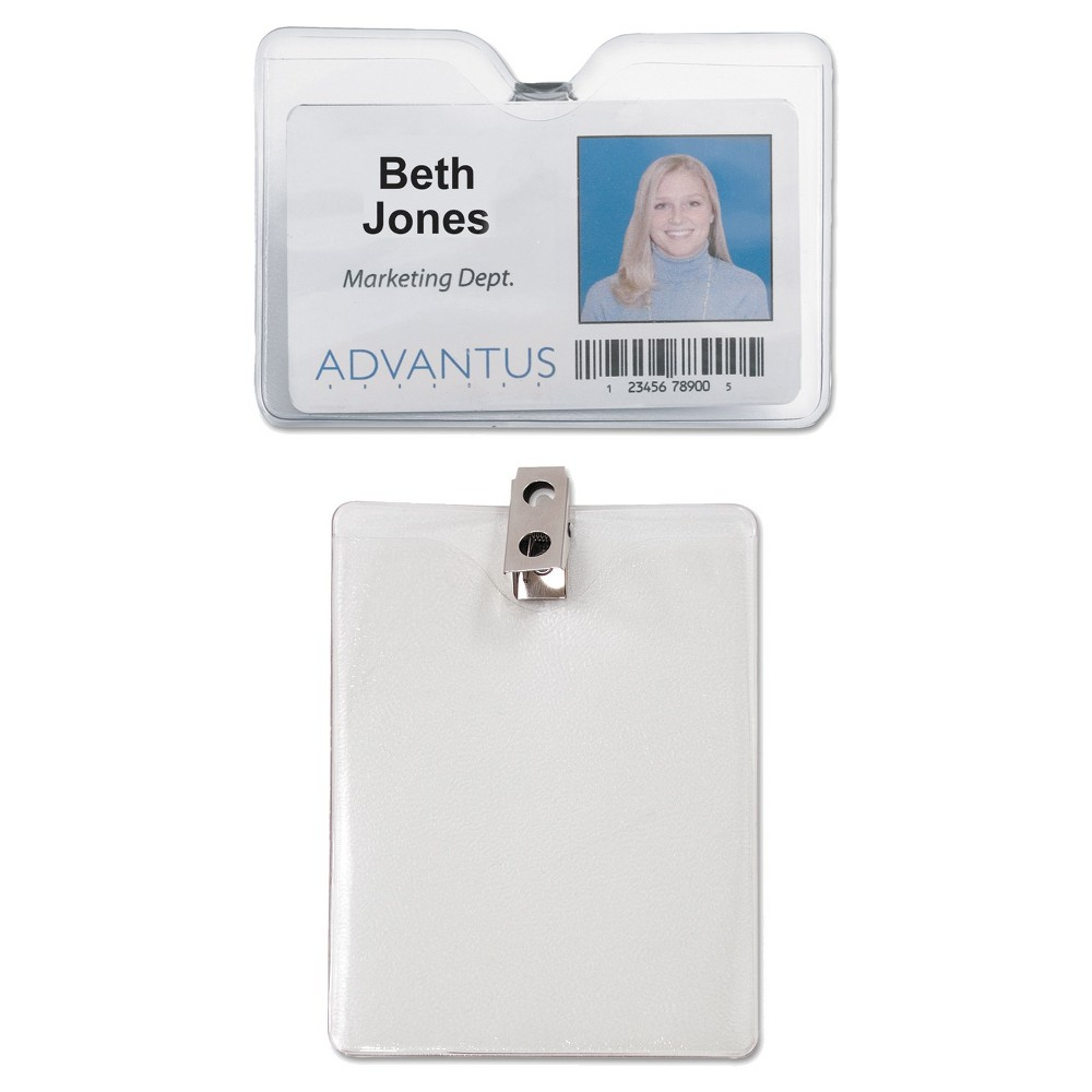 Image of Advantus ID Badge Holder w/Clip, Horizontal, 4w x 3h, Clear, 50/Pack