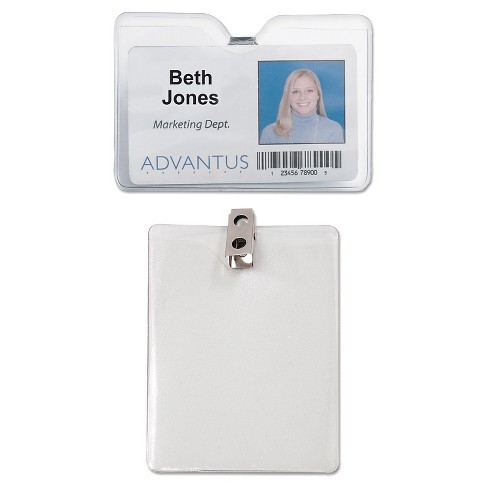 Advantus® ID Badge Holder w/Clip, Horizontal, 4w x 3h, Clear, 50/Pack - image 1 of 1