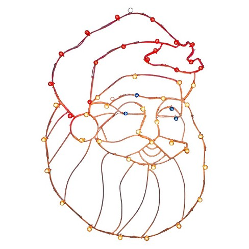 Light-Up Santa Head Wire Motif Multicolored (48x34) - image 1 of 1