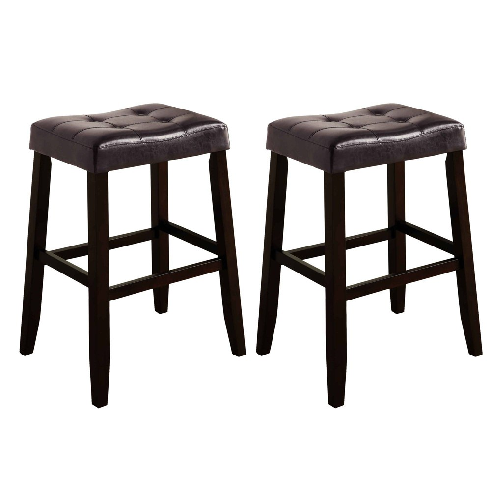 Set Of 2 Wooden Stools With Saddle Seat And Button Tufting Brown Benzara