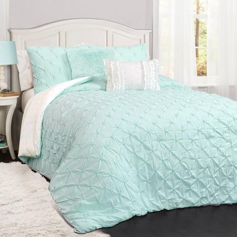 5pc Full Queen Ravello Pintuck Comforter Set Light Aqua Lush Dcor Target