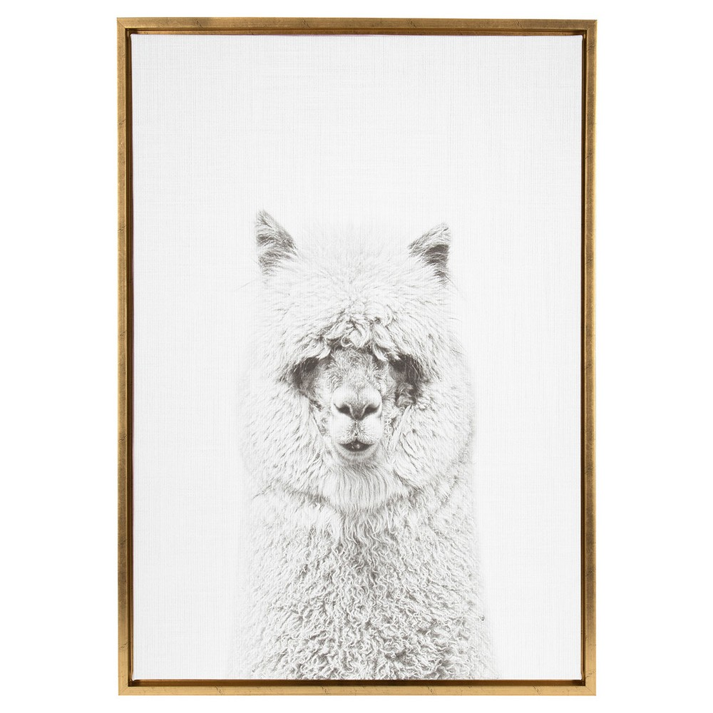 "Image of ""Hairy Alpaca Framed Canvas Art Gold (33""""x23"""") - Uniek"""