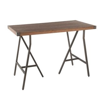 Trestle Industrial Counter Height Dining Table Antique/Brown - LumiSource