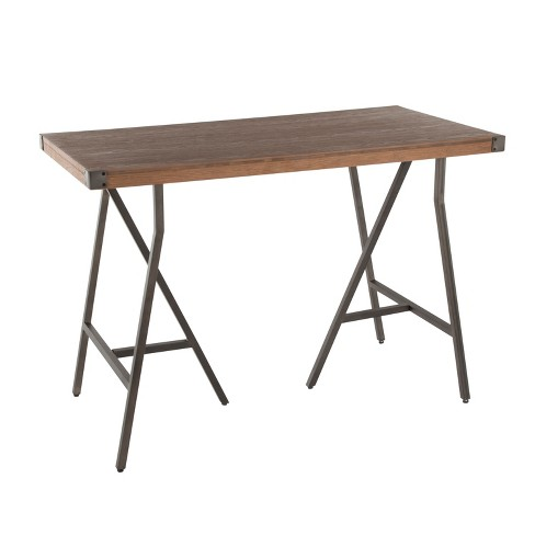 Trestle Industrial Counter Height Dining Table Antique/Brown - LumiSource - image 1 of 4