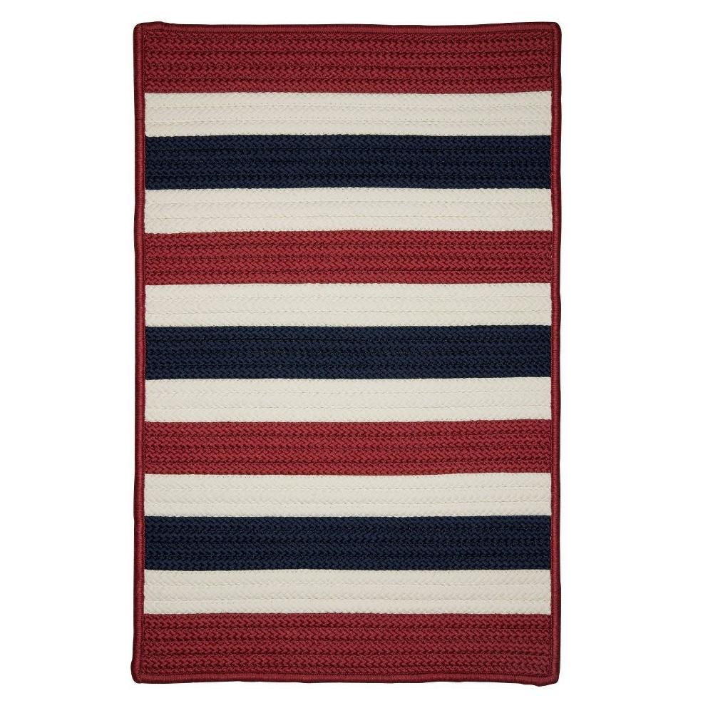 Railroad Stripe Braided Area Rug Red/White