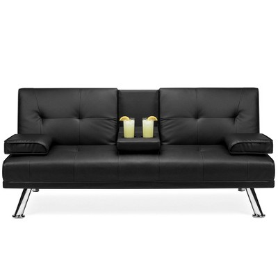 Best Choice Products Modern Faux Leather Convertible Futon Sofa w/ Removable Armrests	Metal Legs	2 Cupholders