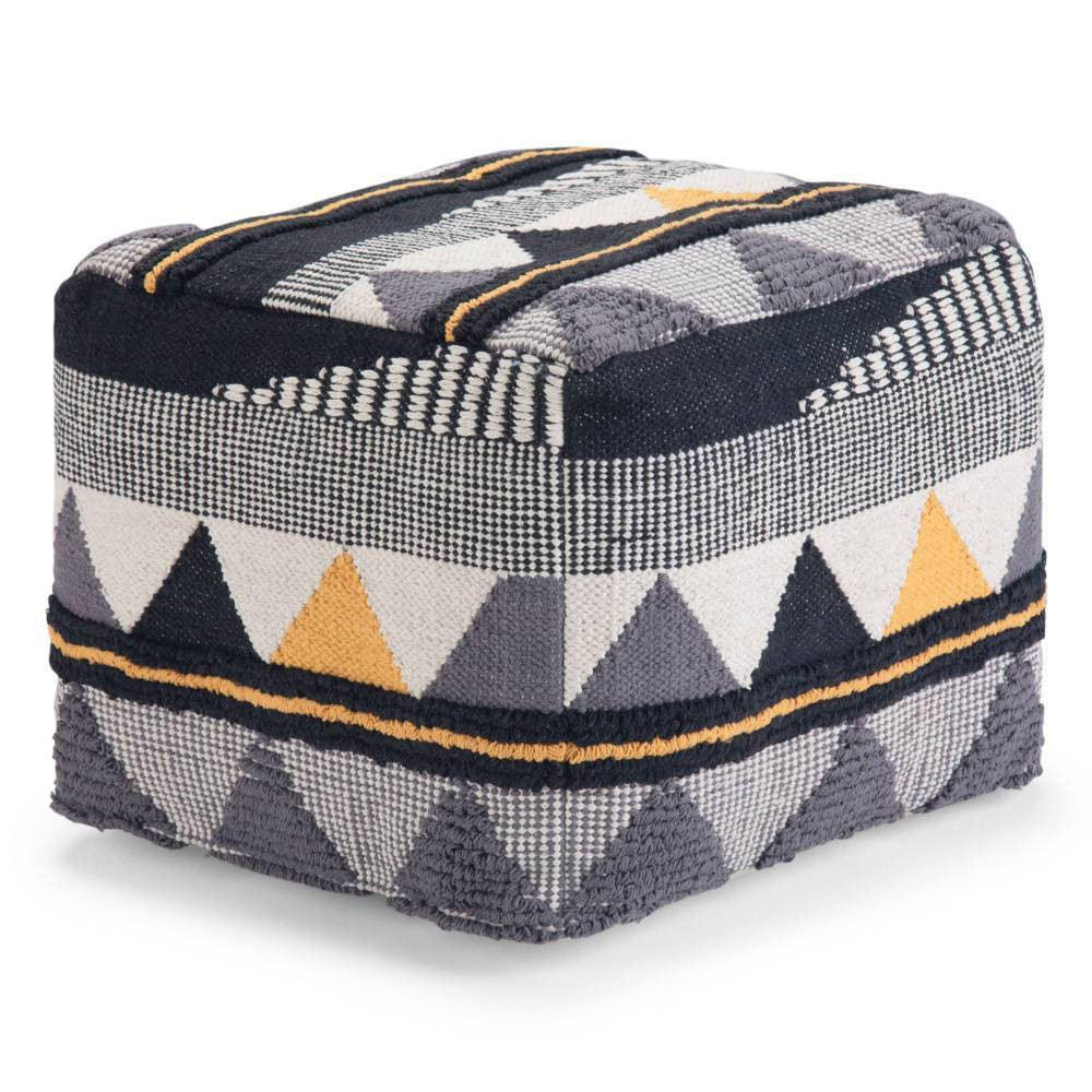 Image of Bebe Transitional Square Pouf in Black/Gray/White - Wyndenhall