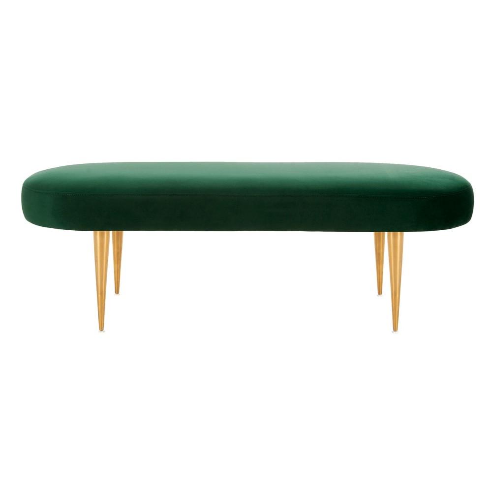 Corinne Velvet Oval Bench Emerald (Green) - Safavieh