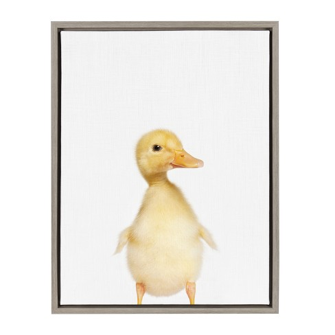 "Kate & Laurel 24""x18"" Sylvie Baby Duck Animal Print Portrait By Amy Peterson Framed Wall Canvas Gray - image 1 of 5"