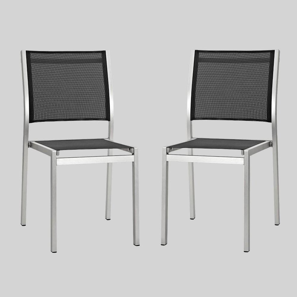 Shore 2ct Outdoor Patio Aluminum Side Chair - Black - Modway