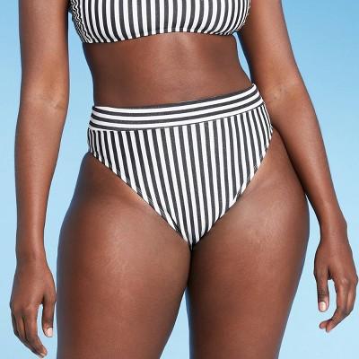Juniors' Metallic High Leg High Waist Bikini Bottom - Xhilaration™ Black/White Stripe