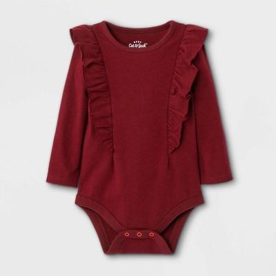 Baby Girls' Ruffle Long Sleeve Bodysuit - Cat & Jack™ Maroon 0-3M