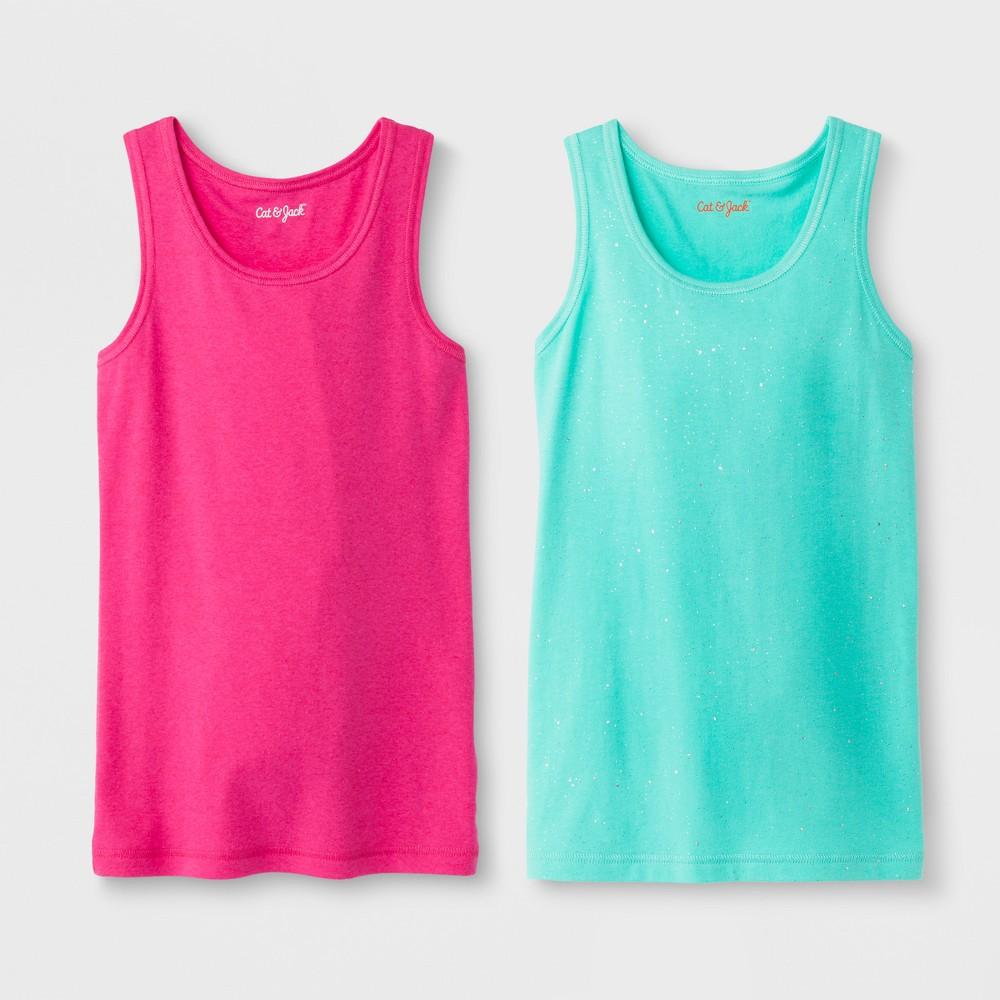 Image of Girls' 2pk Tank Top - Cat & Jack Pink/Green L, Girl's, Size: Large, Green Pink