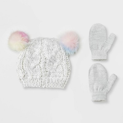 Baby Girls' Knit Beanie & Magic Mittens Set - Cat & Jack™ Gray 12-24M