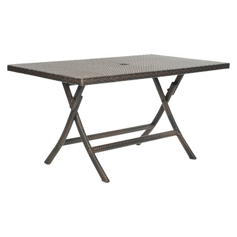 Asinara Rectangle Wicker Folding Patio Dining Table Brown Safavieh