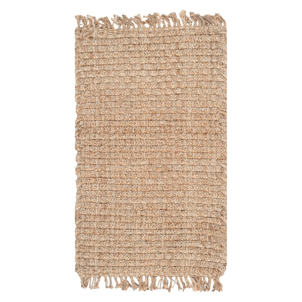 Natural Solid Loomed Area Rug - (4'x6') - Safavieh, White
