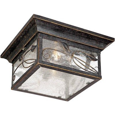 """Franklin Iron Works Country Cottage Outdoor Ceiling Light French Bronze Leaf and Vine Motif 11"""" Clear Seedy Glass for Patio Porch"""