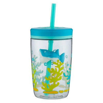 Contigo 16oz Plastic Straw Tumbler Shark Blue/Green