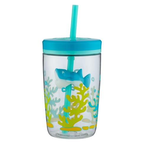 Contigo 16oz Plastic Straw Tumbler Shark Blue/Green - image 1 of 5